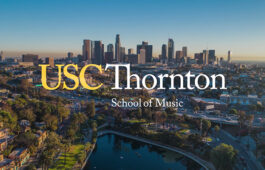 "Photo of downtown LA with logo ""USC Thornton School of Music"""