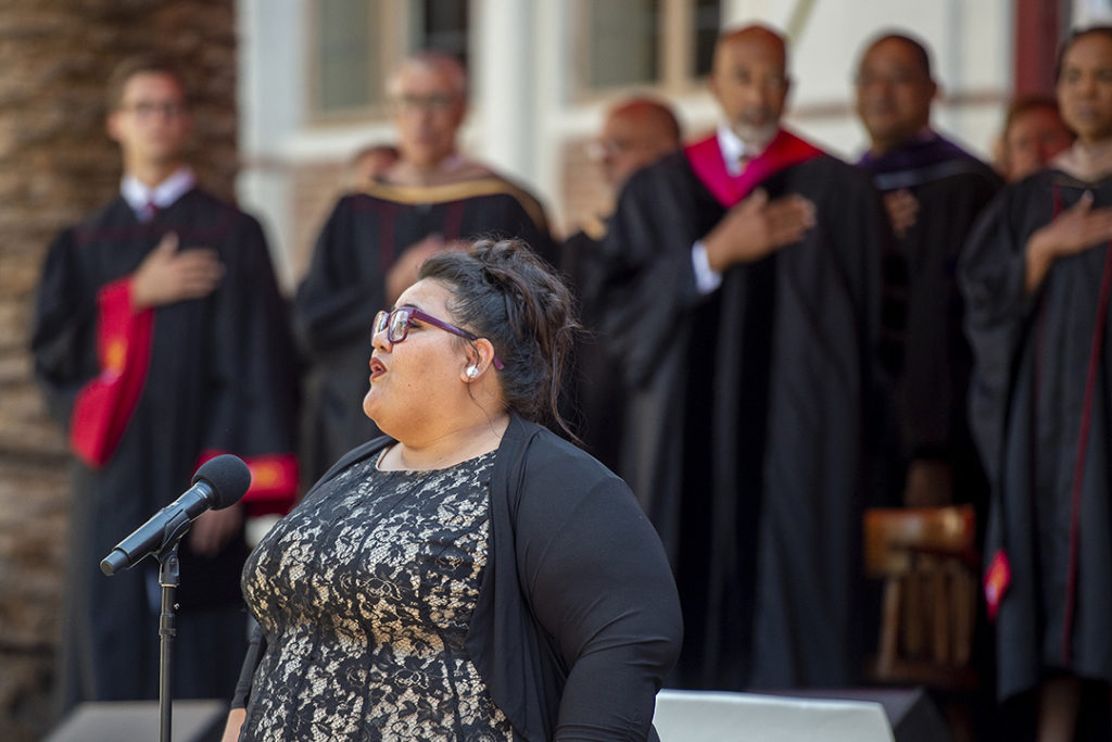 Vocal Arts student Amanda Rindlisbach sang the national anthem at the inauguration ceremony.