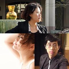 Photo of three international artist fellows