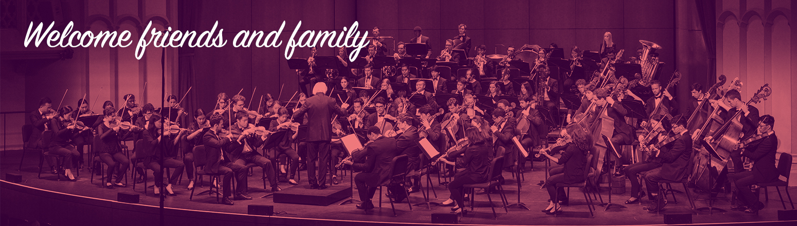 """Photo of orchestra with text """"welcome friends and family."""""""