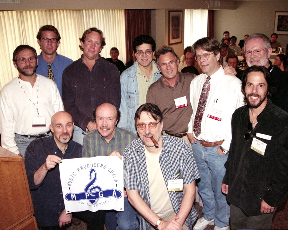 Photo of music professionals in 1980s