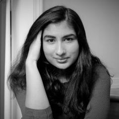 Black and white photo of Nina Shekhar