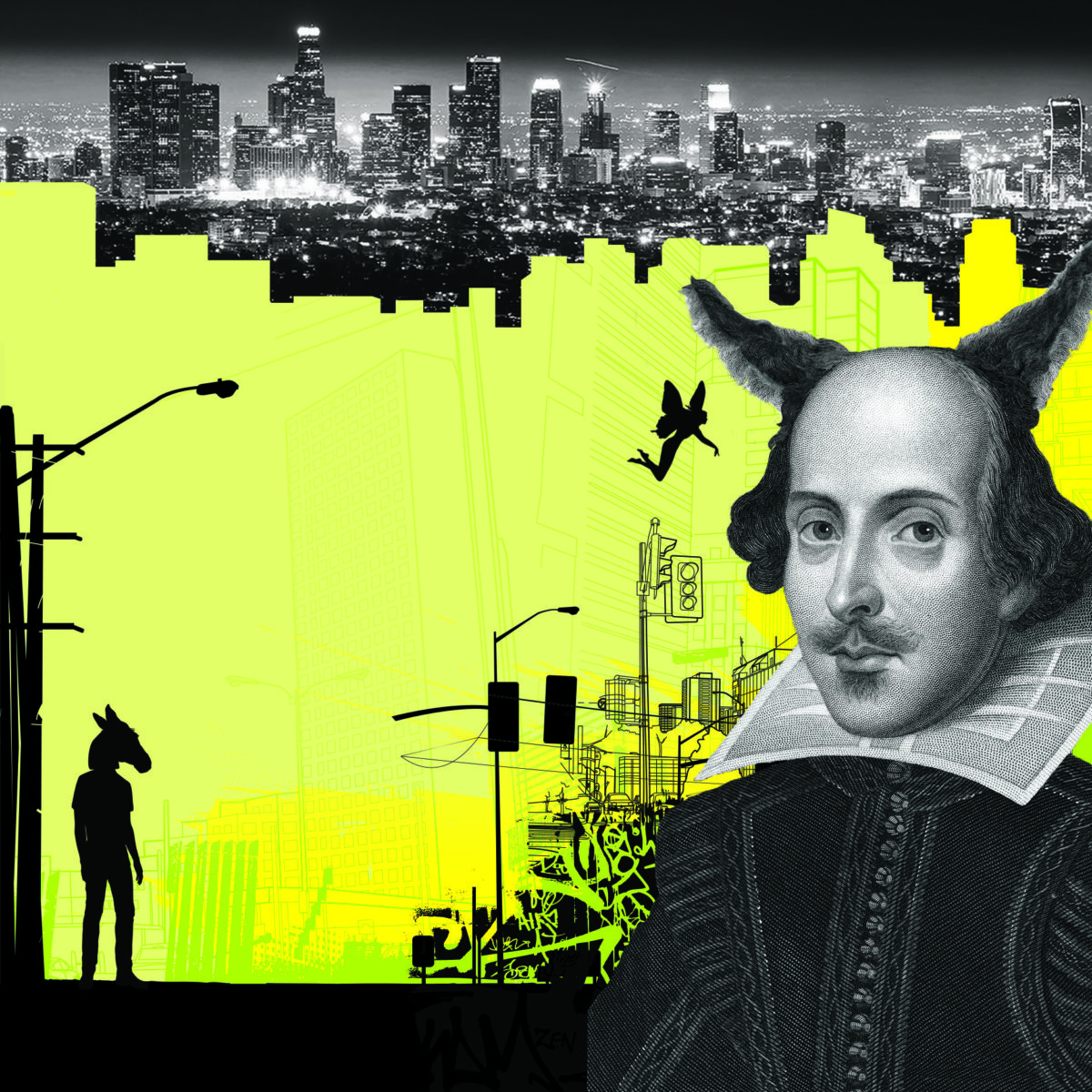 Illustrative promotional image for A Midsummer Night's Dream with cityscape and picture of Shakespeare.