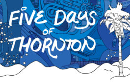 Blue illustrated headline with snowy palm tree and text: Five Days of Thornton