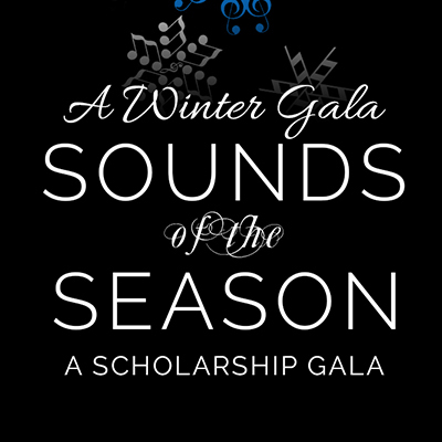 Image with text: 'A winter gala / Sounds of the season / a scholarship gala