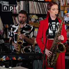 Photo of Amber Navran and Max Byrk at NPR Tiny Desk