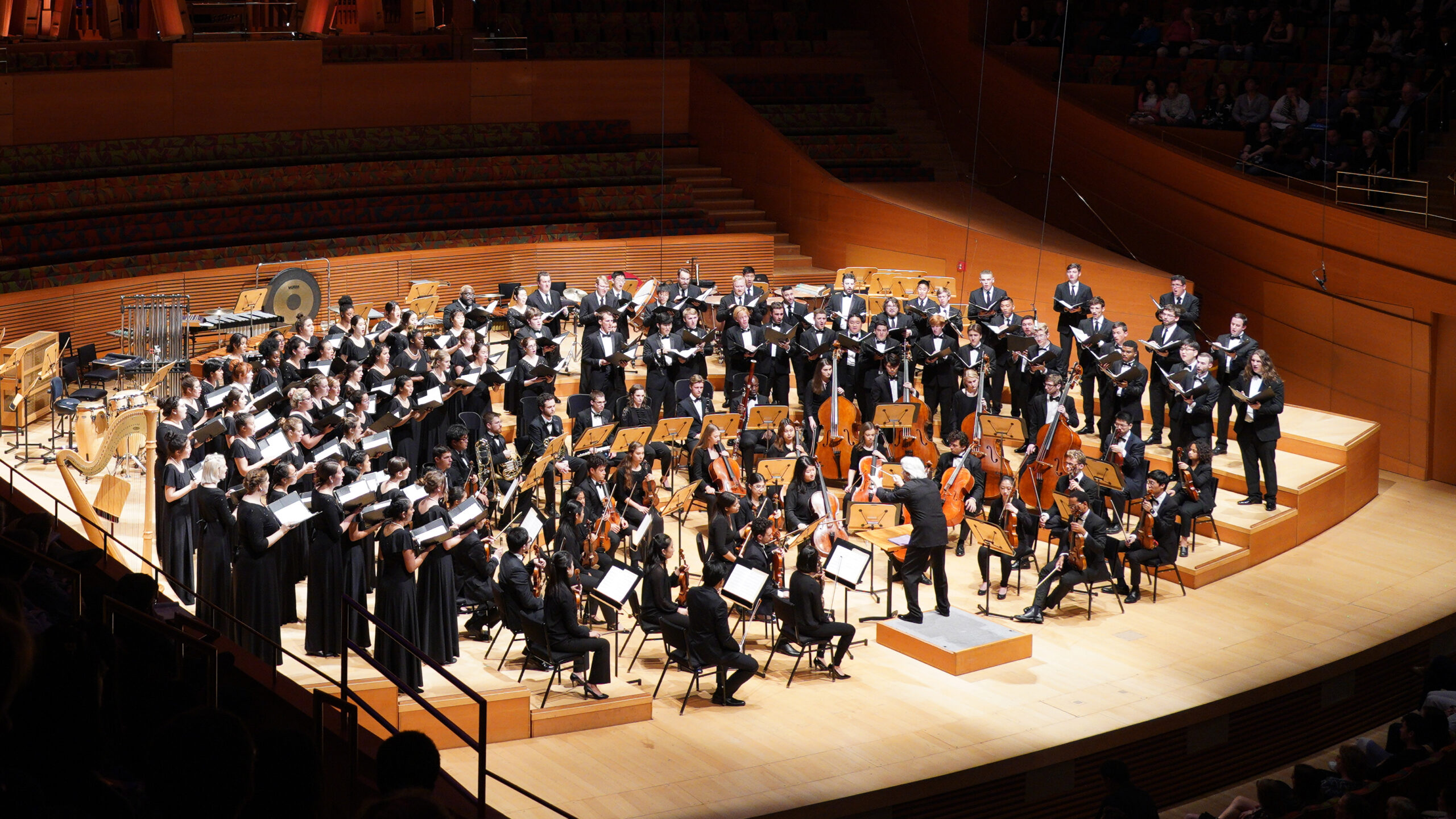 Photo of symphony playing in Walt Disney Hall