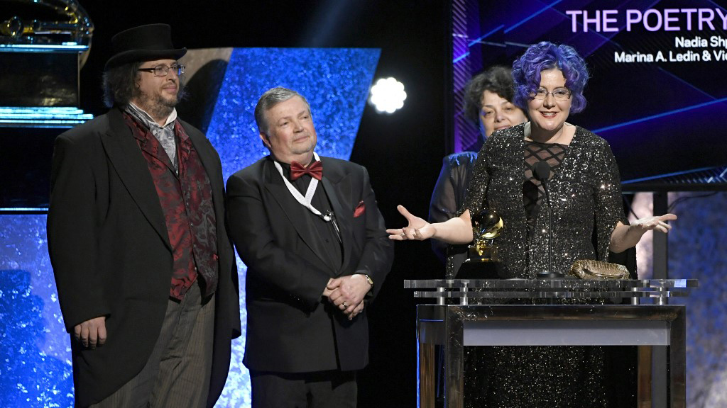 Photo of Nadia Shpachenko accepting Grammy award