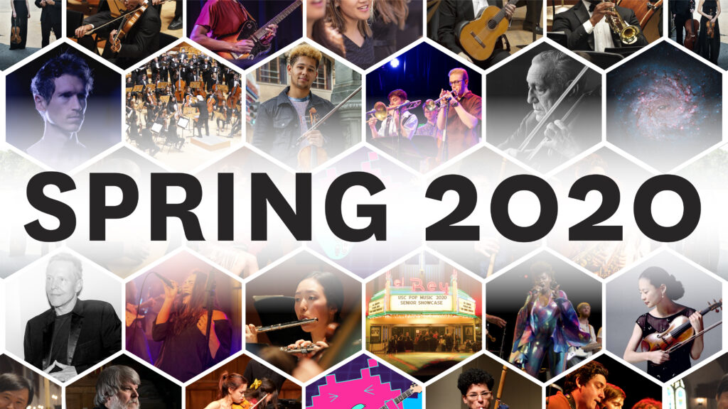 "Tiles of photos of performers with text ""Spring 2020"""