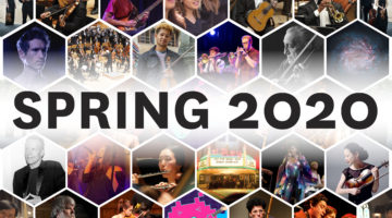 "Tile of images of performers with text ""Spring 2020"""