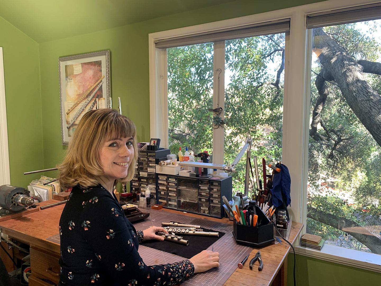 Cynthia Kelley in flute repair studio
