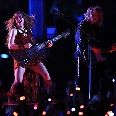 Photo of Erik Hammer and Shakira on stage at Super Bowl halftime show
