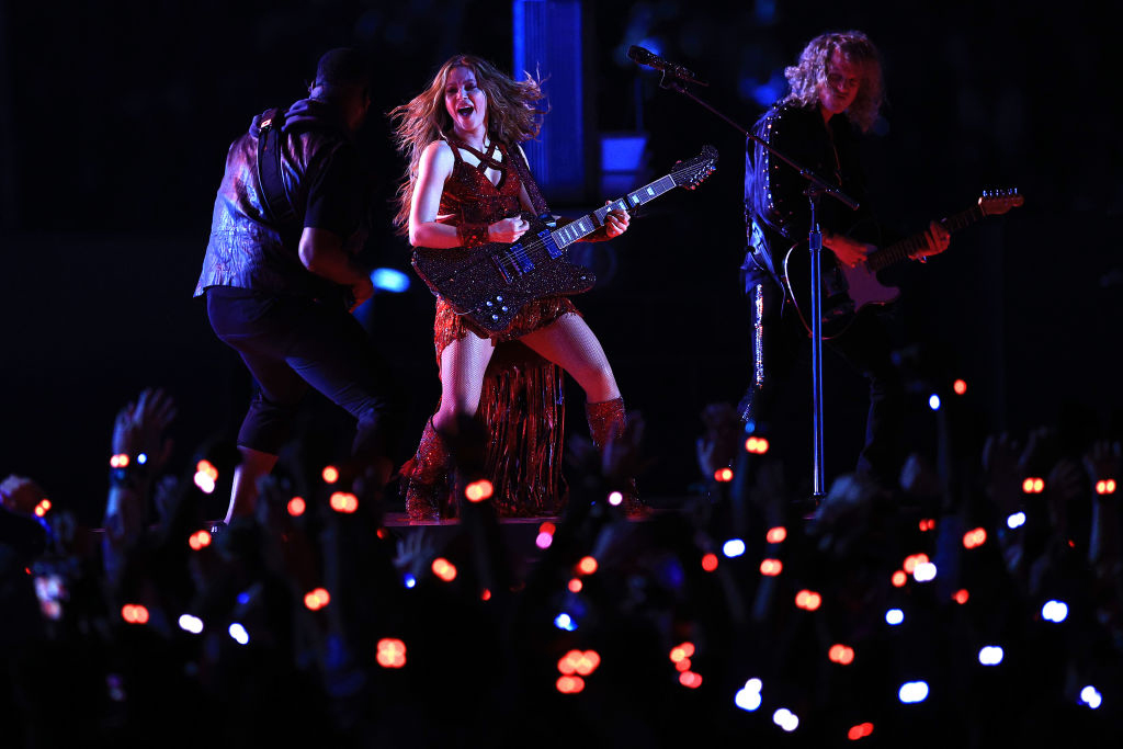 Photo of Shakira and Erik Hammer on stage during Super Bowl halftime show