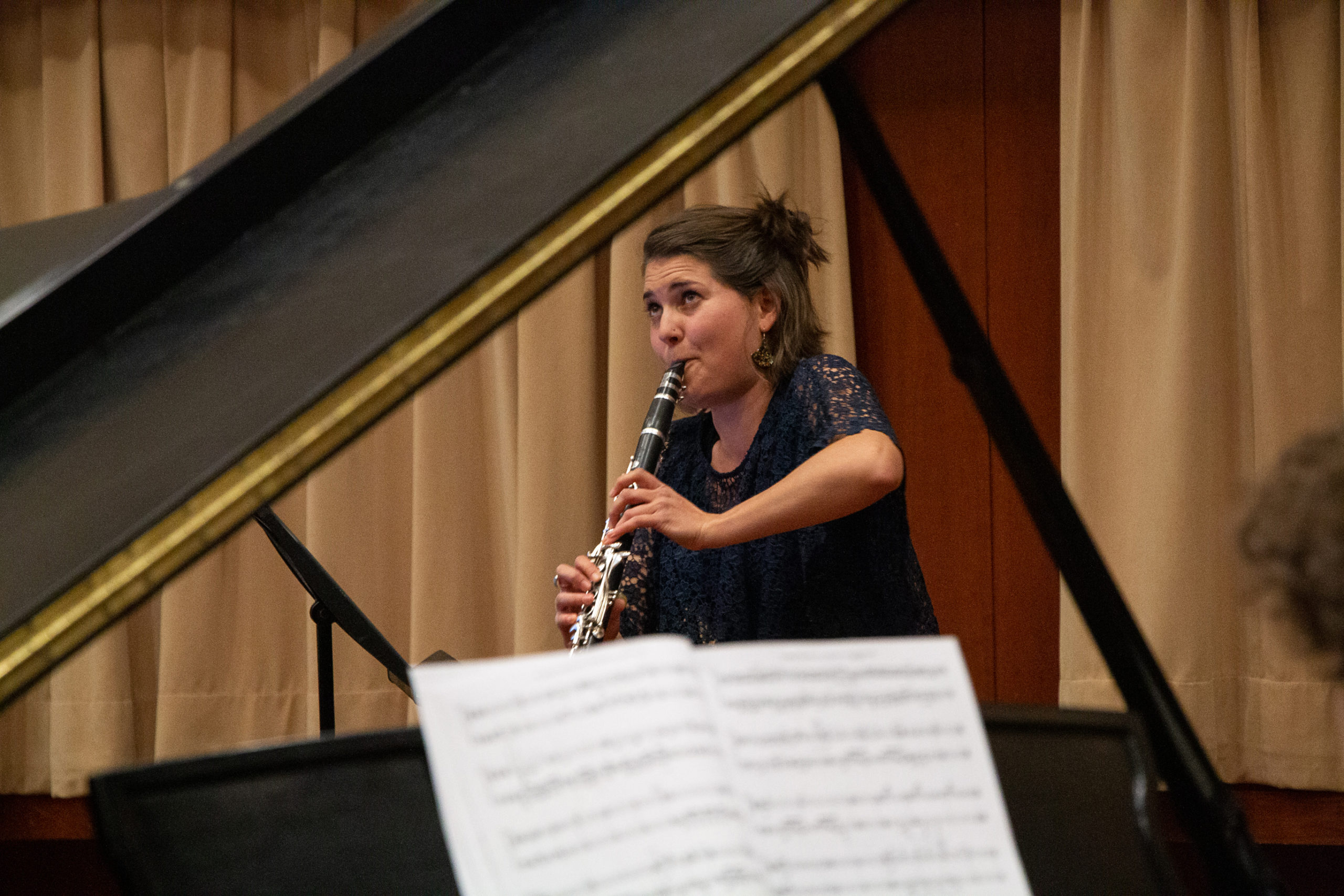 Yasmina playing the clarinet