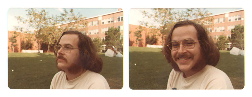 Side-by-side images of Bill Biersach in the 1970s, sitting outdoors at Thornton