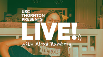 "Photo of guitar player with text ""Live with Alexa Rumberg"""