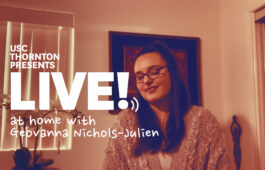 "Photo of singer with text ""Live! at home with Geovanna Nichols-Julien"""