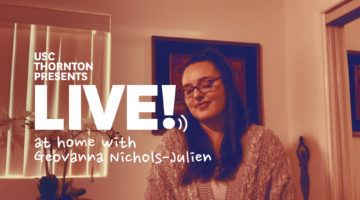 """Photo of singer with text """"Live! at home with Geovanna Nichols-Julien"""""""