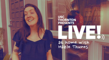 "Hazle Thunes singing with text ""Live at home with Hazle Thunes"""