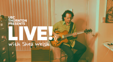 "Photo of guitarist with text ""Live! with Shea Welsh"""