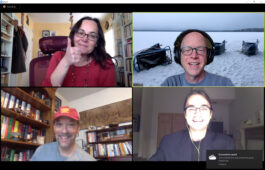Photo of four students and faculty members in a Zoom video call