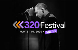 "Image of Chester Bennington with text ""320 Festival Online"""