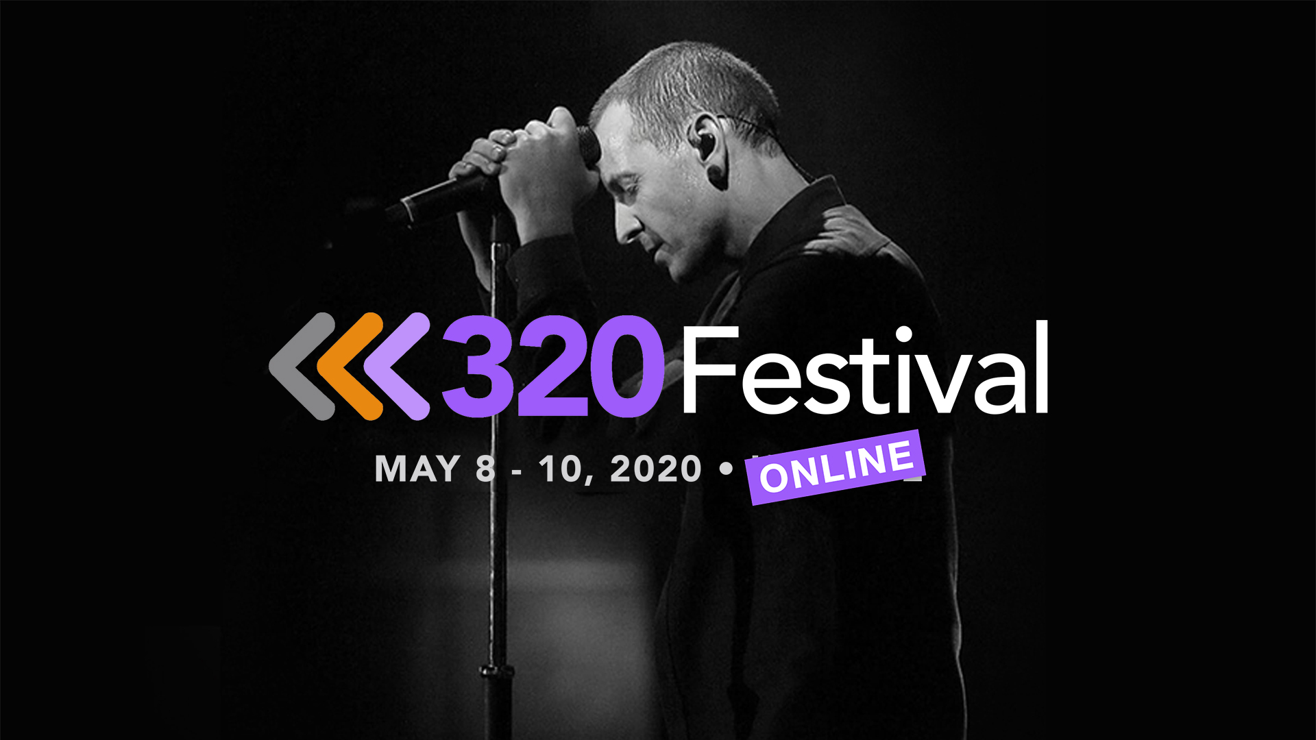 """Image of Chester Bennington with text """"320 Festival Online"""""""