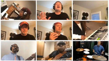 Tiled images of pop music faculty singing and playing instruments