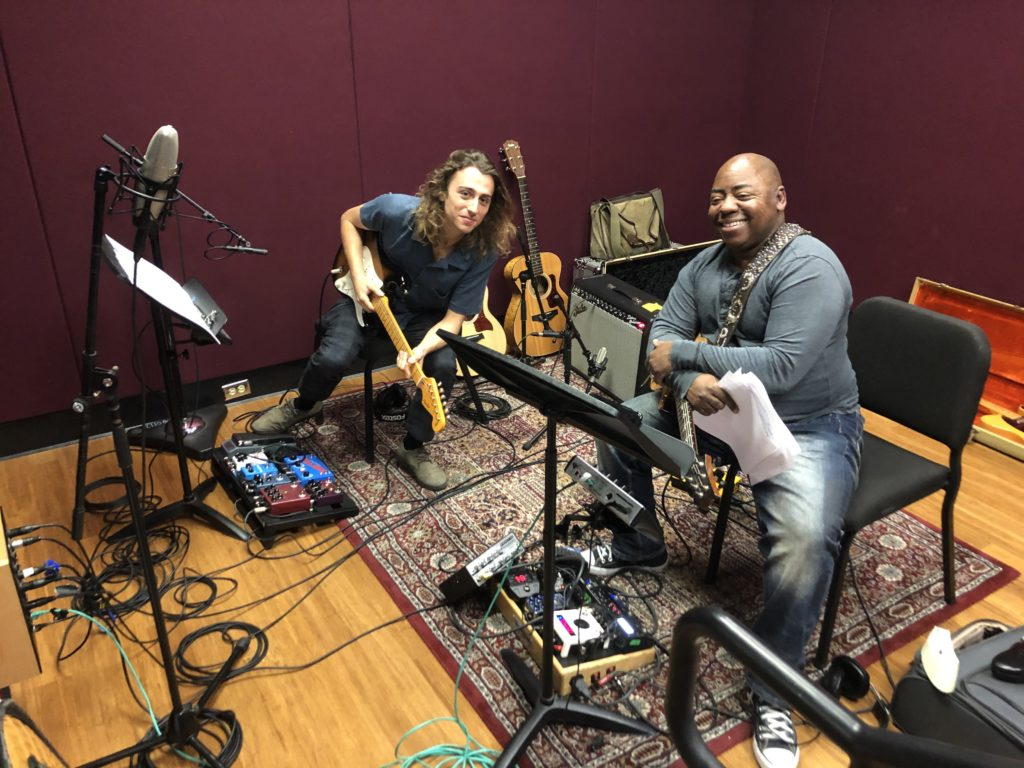 "Enzo Iannello (BM '20) and professor Paul Jackson, Jr. track guitars for a production class. ""It was a highlight of my time studying here,"" Iannello says."
