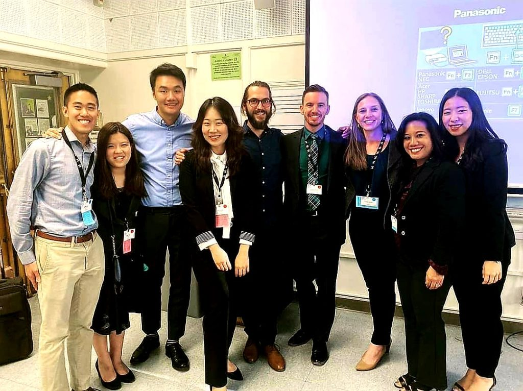 Joshua Tan (DMA '20) and fellow members of USC Thornton's MTNA chapter present at the CAPMT Conference
