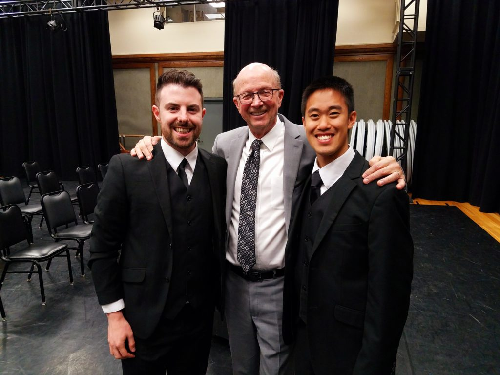 2020 Outstanding Graduate Joshua Tan (DMA '20) (right) pictured with professor Jo-Michael Scheibe after the USC Thornton Chamber Singers' Mozart Requiem performance with LA Chamber Orchestra