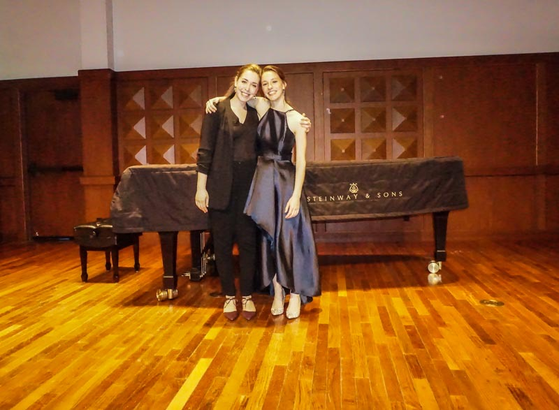 Vocalist Julia Gershkoff (MM '20) with pianist Elise Lawrence (MM '20) after Gershkoff's degree recital