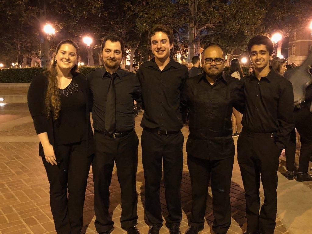 Julio Sequeira (MM '20) and friends from a non-major classical guitar quintet