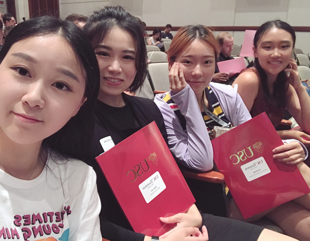 Keyboard Studies graduate Keke Luo (MM '20) with friends at orientation