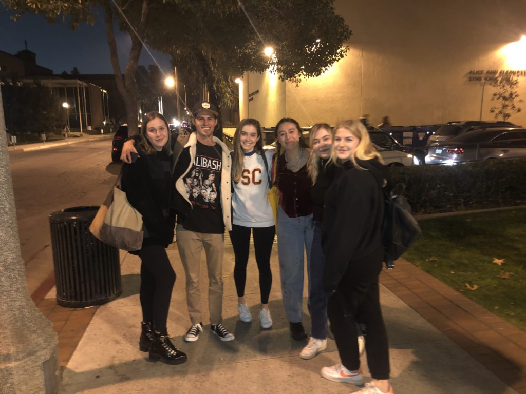 Kristin Robinson (BS '20) with classmates Emme, Peter, Sabrina, Lilly, and Georgia on the first day of their final semester in the Music Industry program.