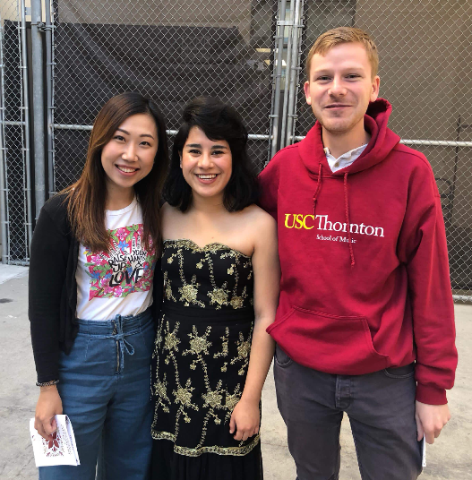 Keyboard Studies graduate Milaena Martinez (BM '20) with students Eliza Chan and Coen Hakeboom at Schoenfeld Hall after performing Rachmaninoff's 3rd Piano Concerto with the Concerto Chamber Orchestra