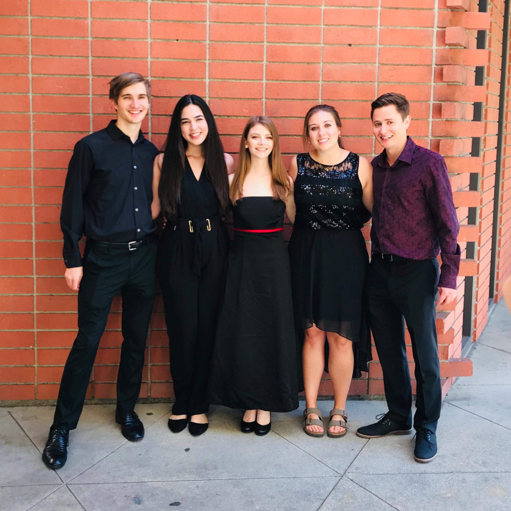 Samantha Epp (center) and quintet members Barret Ham, Alyssa Mena, Lisa Read, and Ben Makarchuk after a recital