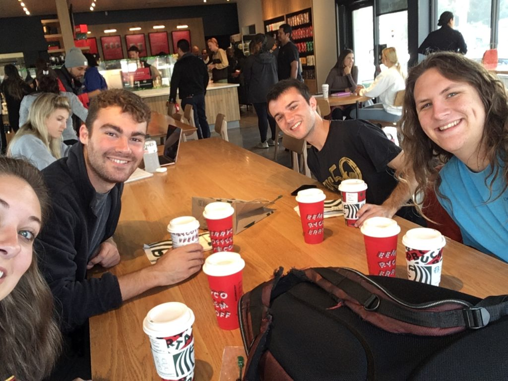 Annual Christmas coffee hangout with Winds & Percussion grads Samantha Epp, Max Opferkuch, Daniel Seaman, and Sloan Quessenberry