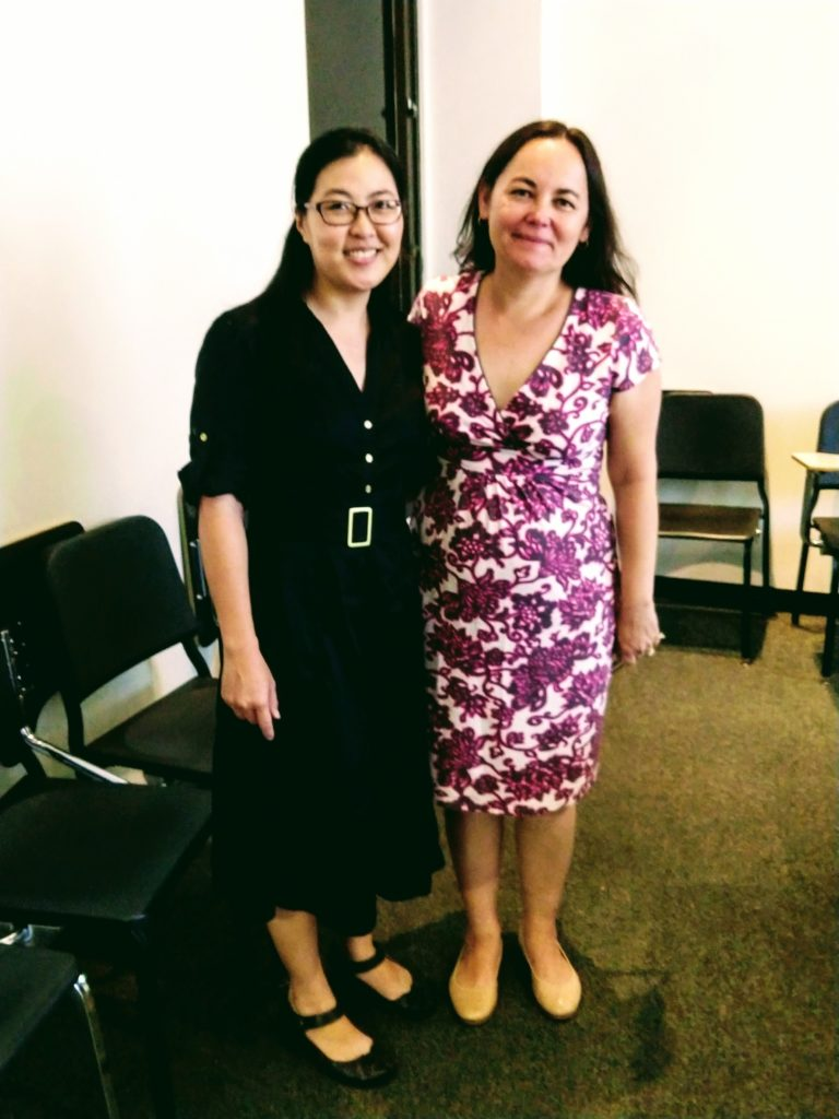 Tina Huynh (MM '14, DMA '19), who graduated in fall from the Music Teaching & Learning program, with professor Beatriz Ilari