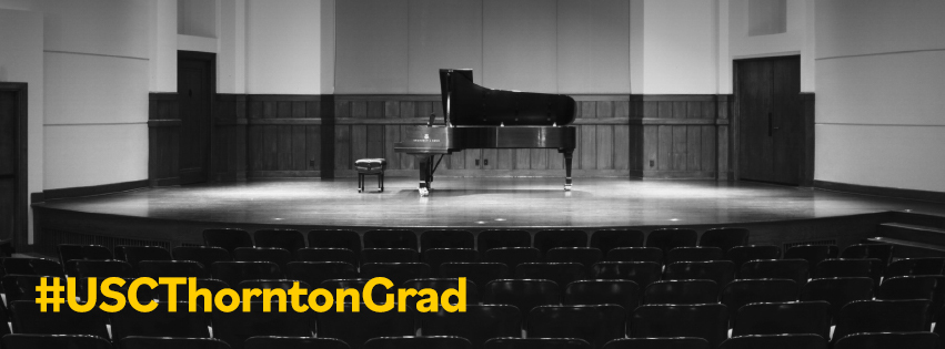 picture of piano with hashtag #uscthorntongrad
