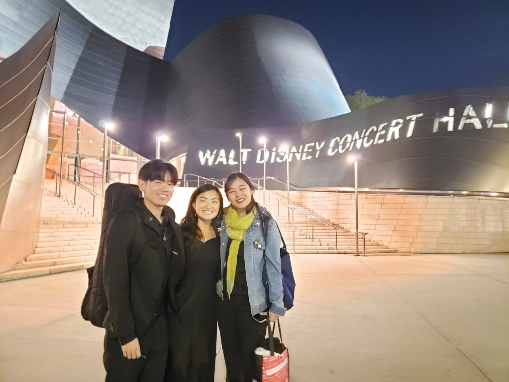 Taiga Murooka (BM '20), Shelby Wong (BM '20), and Tiffany Chung (BM '18, MM '20) after their January 2020 performance at Walt Disney Concert Hall with the USC Thornton Symphony