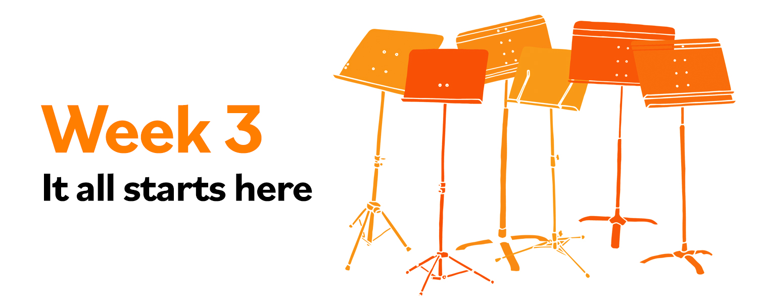 """Image of music stands with text """"Week 3: It all Starts Here"""""""