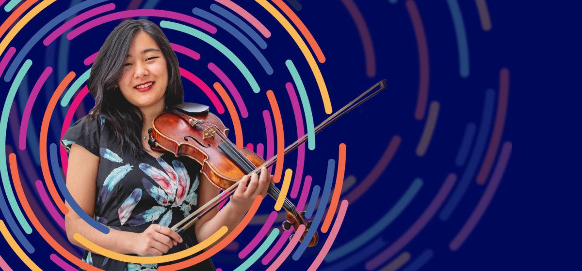 Violinist on decorative image