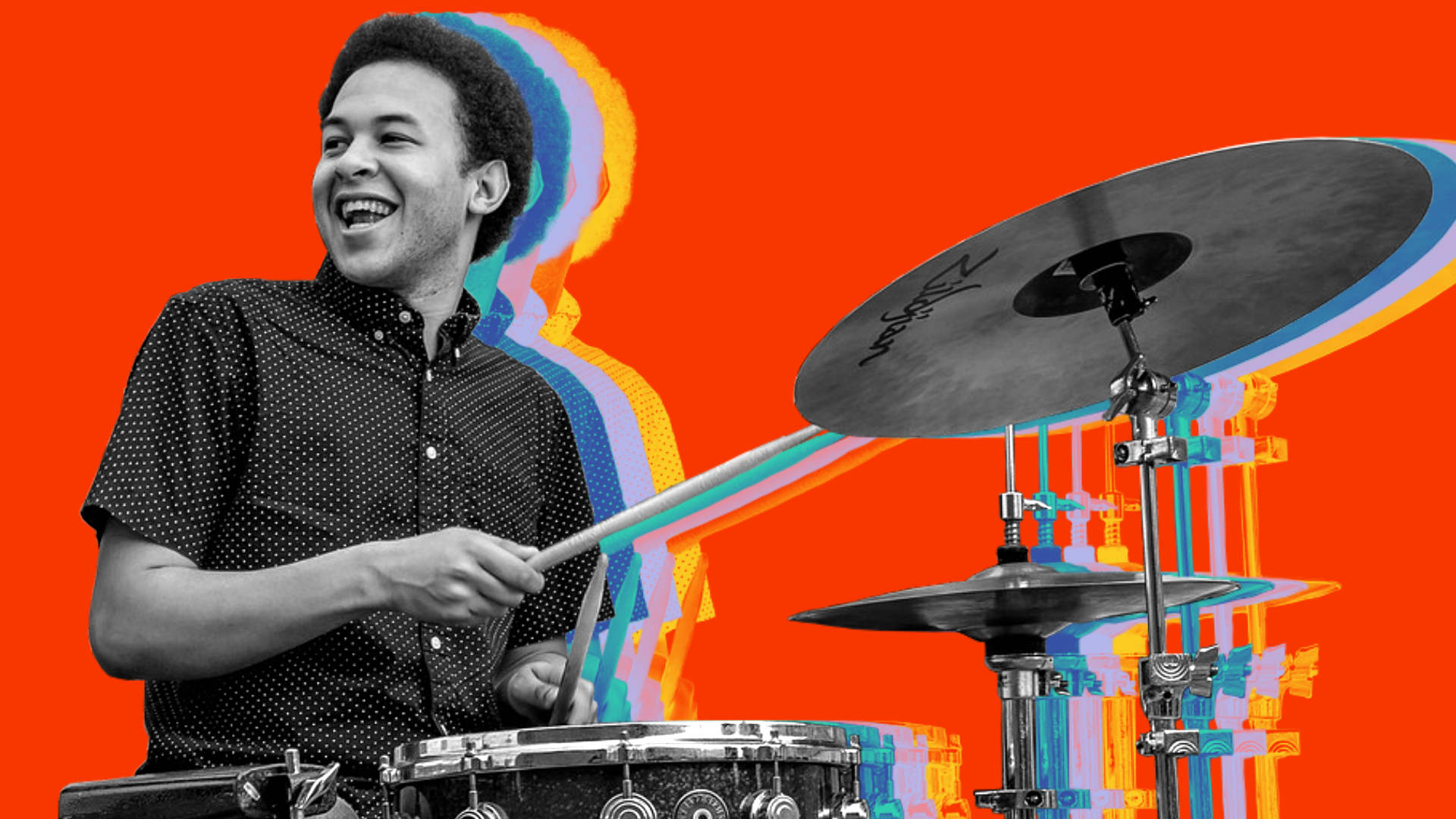 Dominic Anzalone playing drums with red background