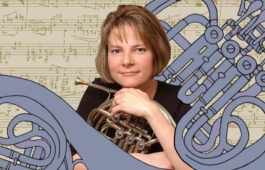 Kristy Morrell with design of french horn and sheet music