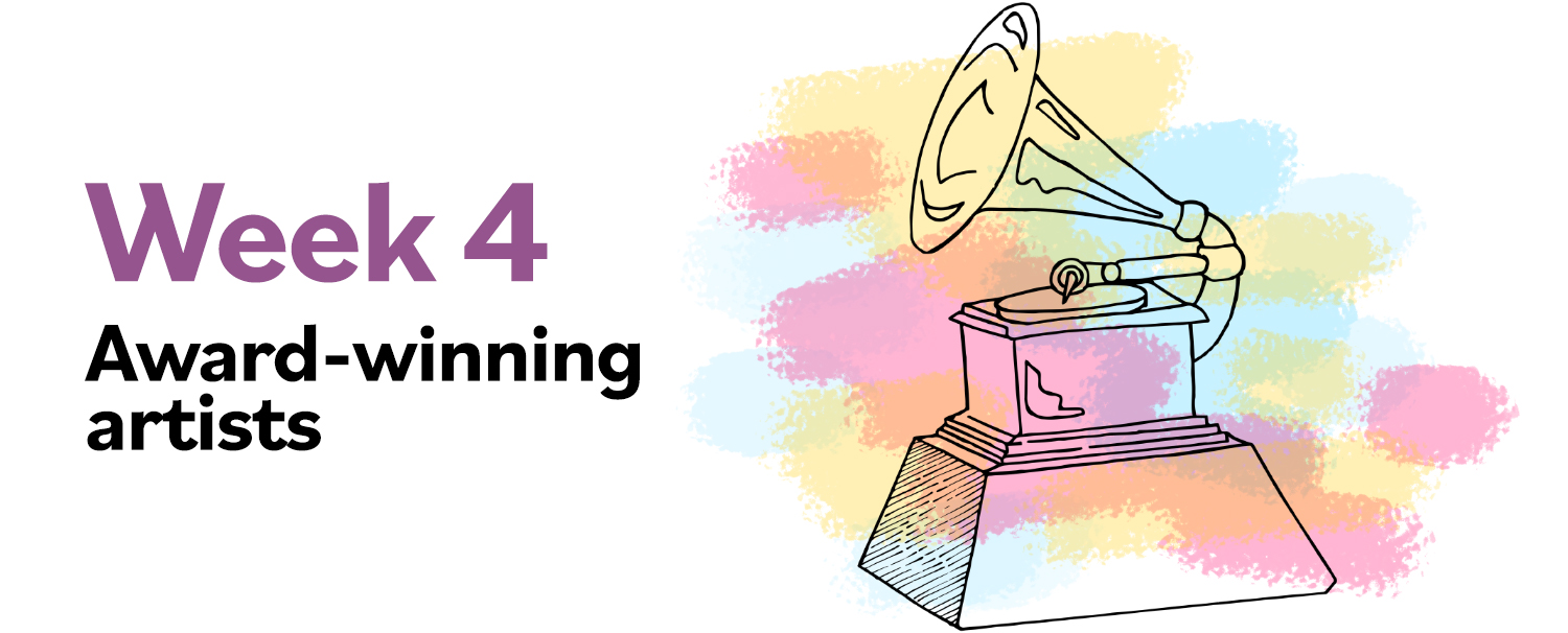 """Image of record player with color splashes and text: """"Week 4: Award-winning artists"""""""