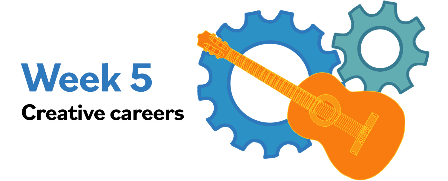 """Images of a guitar and rotating gears with text """"Week 5: Creative careers"""""""