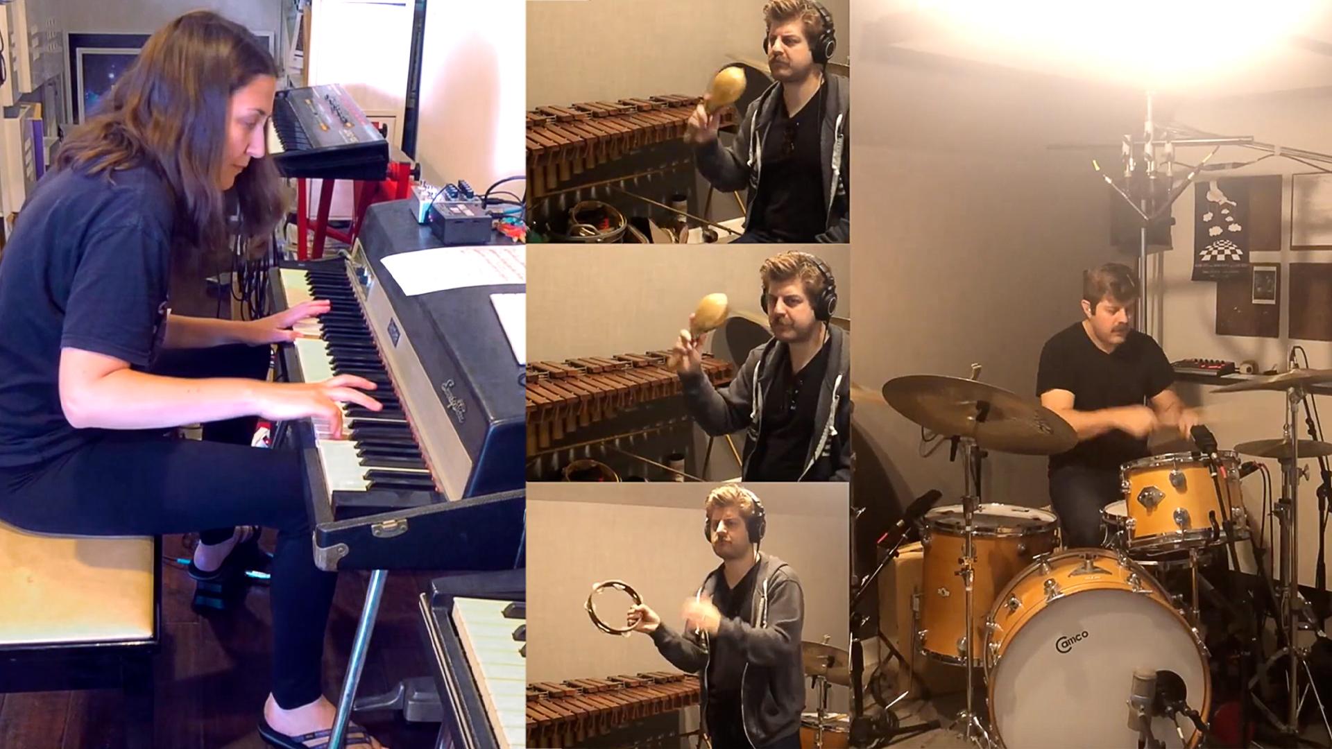 musicians in home studio