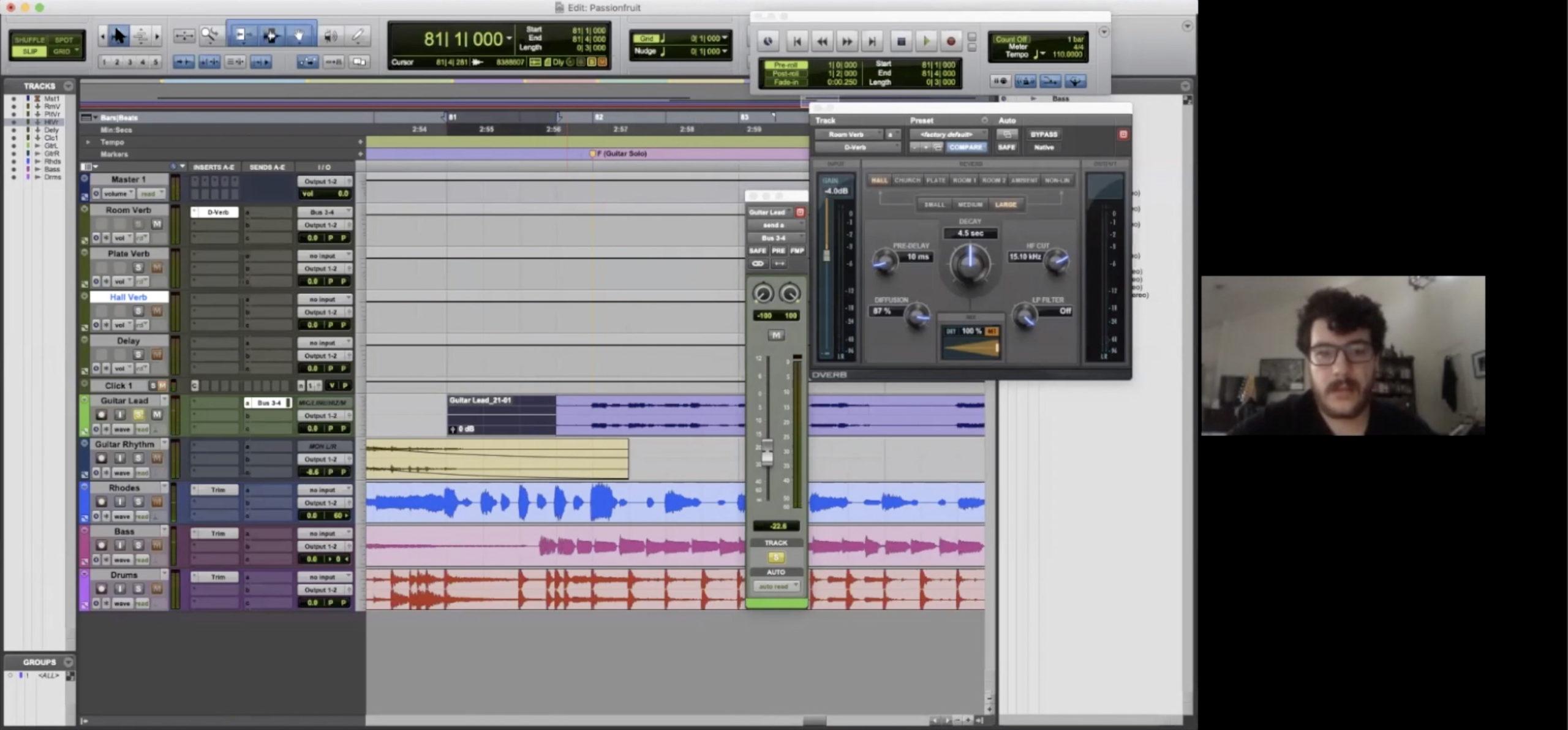 computer desktop with recording software