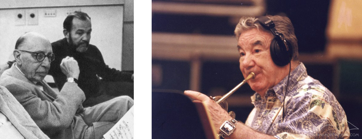 Two photos: One of Jim Decker with Igor Stravinsky in black and white, one of Vince DeRosa playing horn
